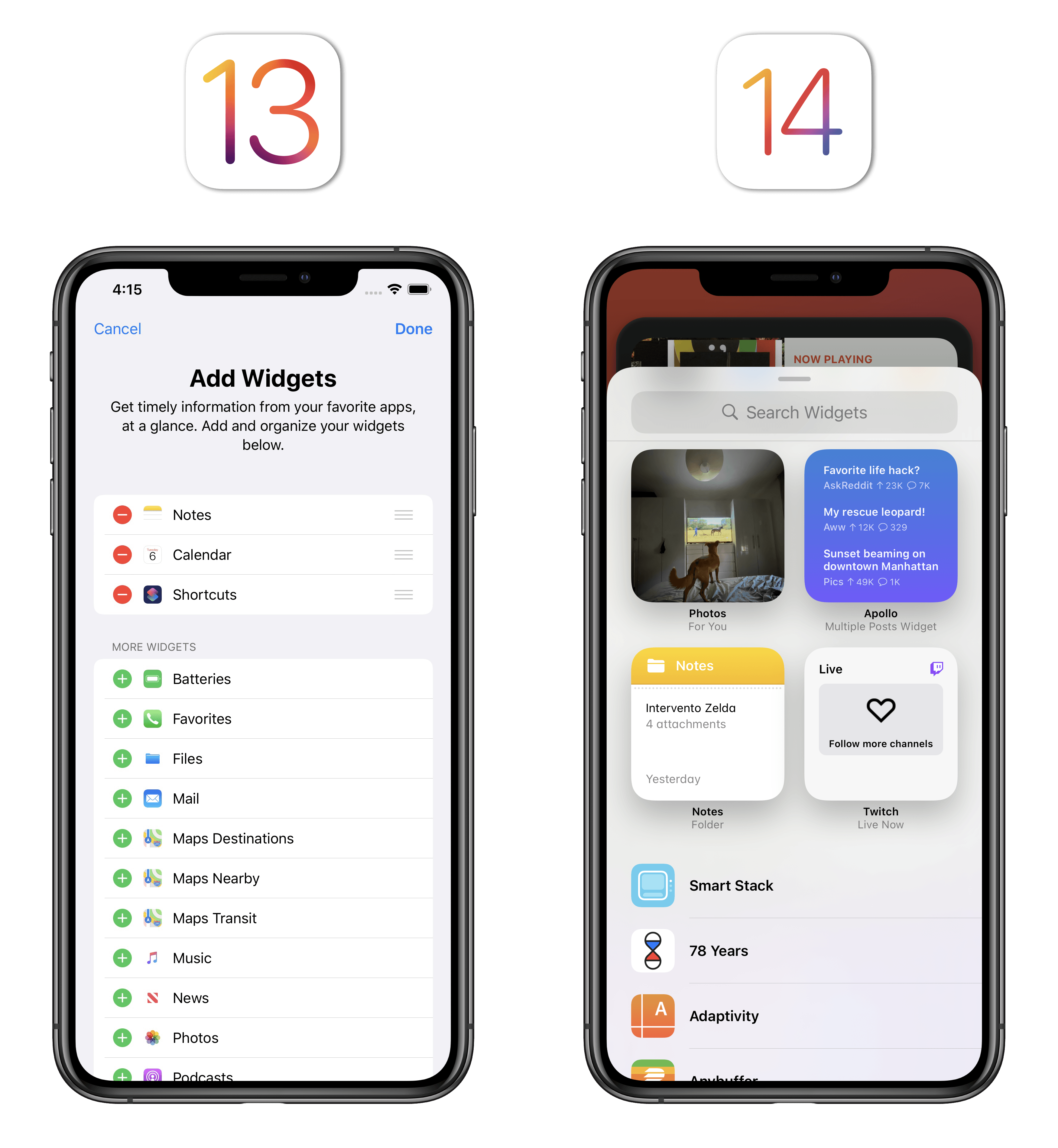 Installing widgets in iOS 14 is a much more visual, contextual experience since widgets contain real data and can be previewed in multiple sizes.