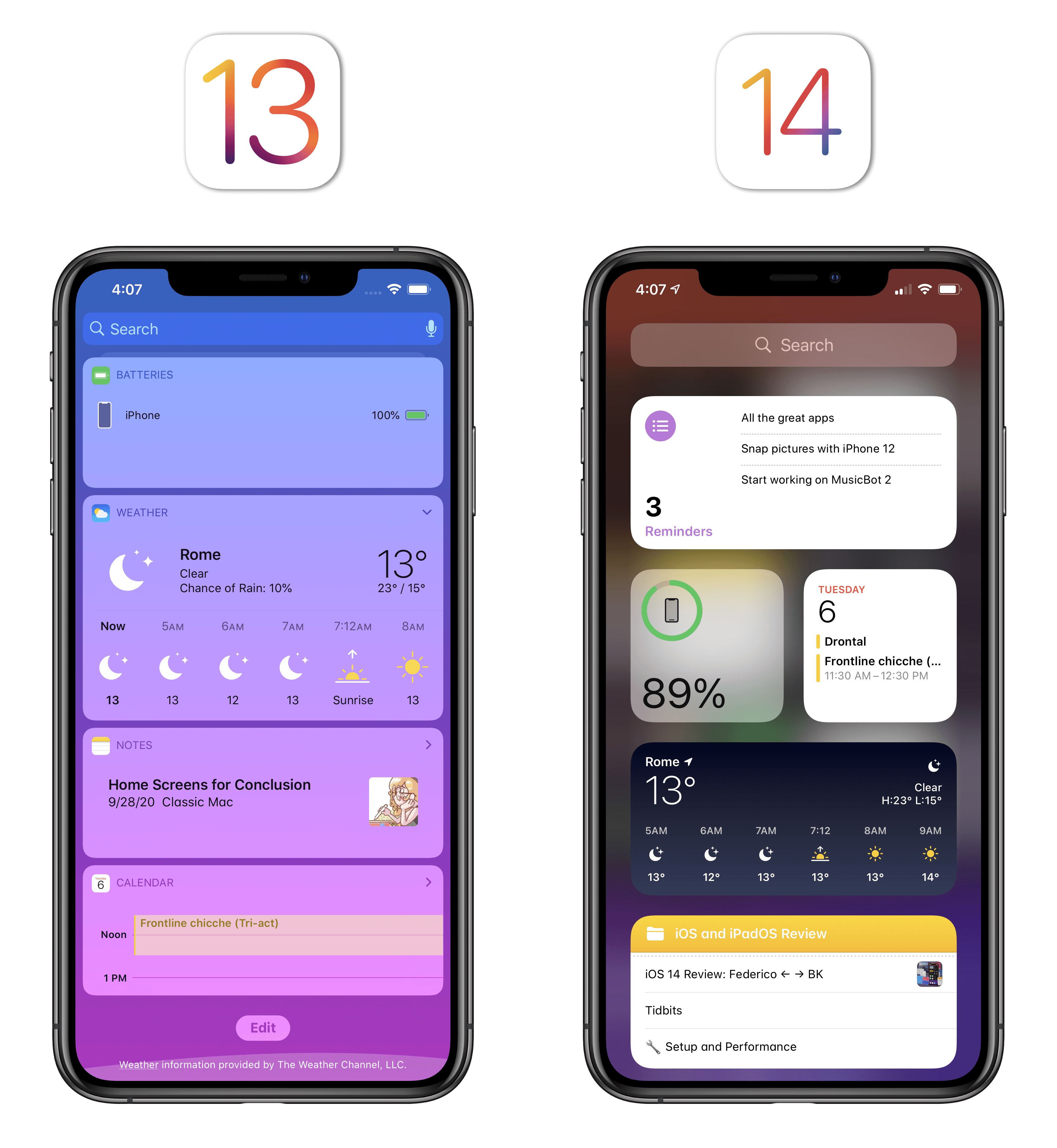 The difference between widgets in iOS 13 and 14 is striking.