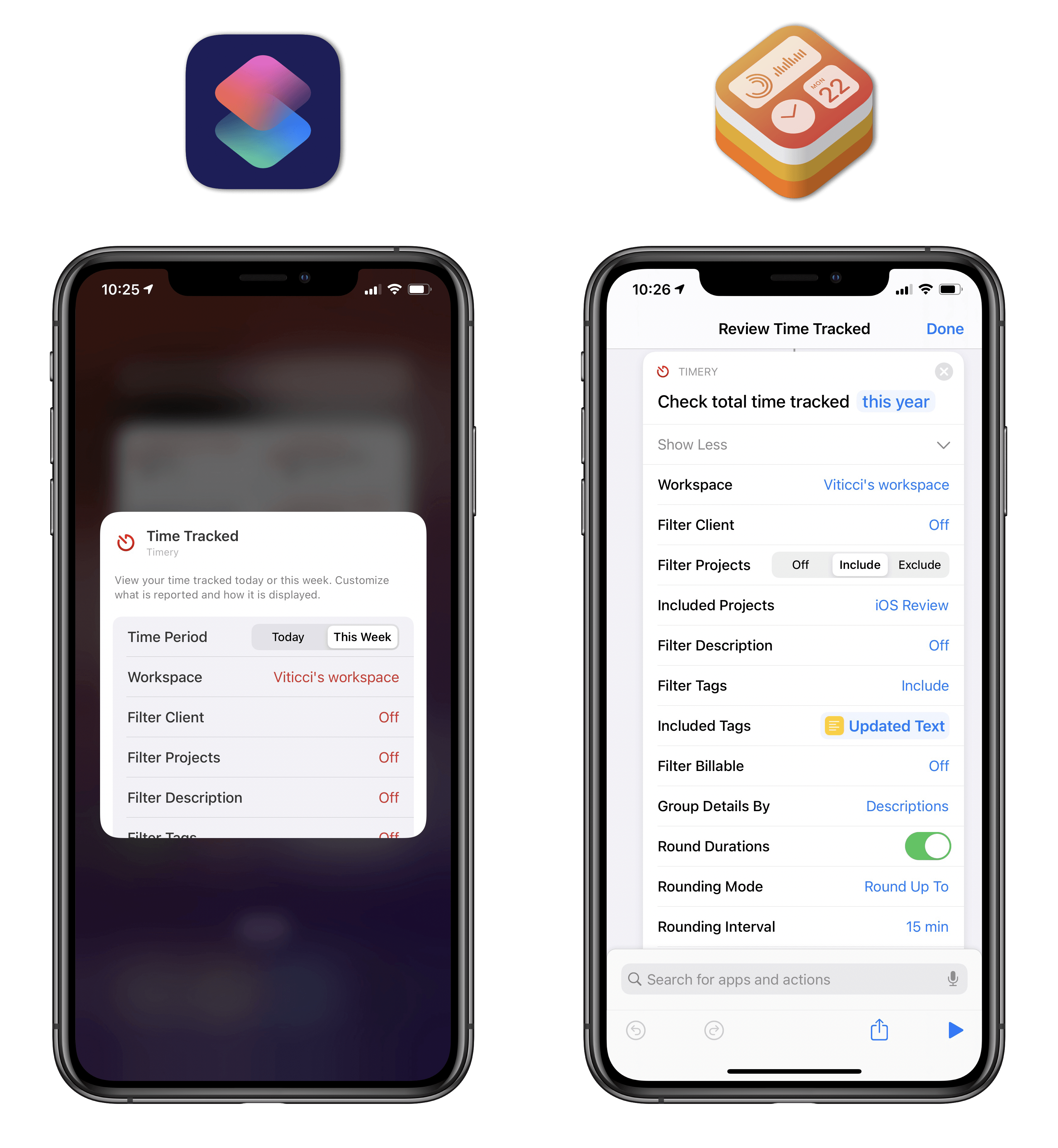 The only difference between the Timery widget and Shortcuts action is the time ranges available for filtering purposes.