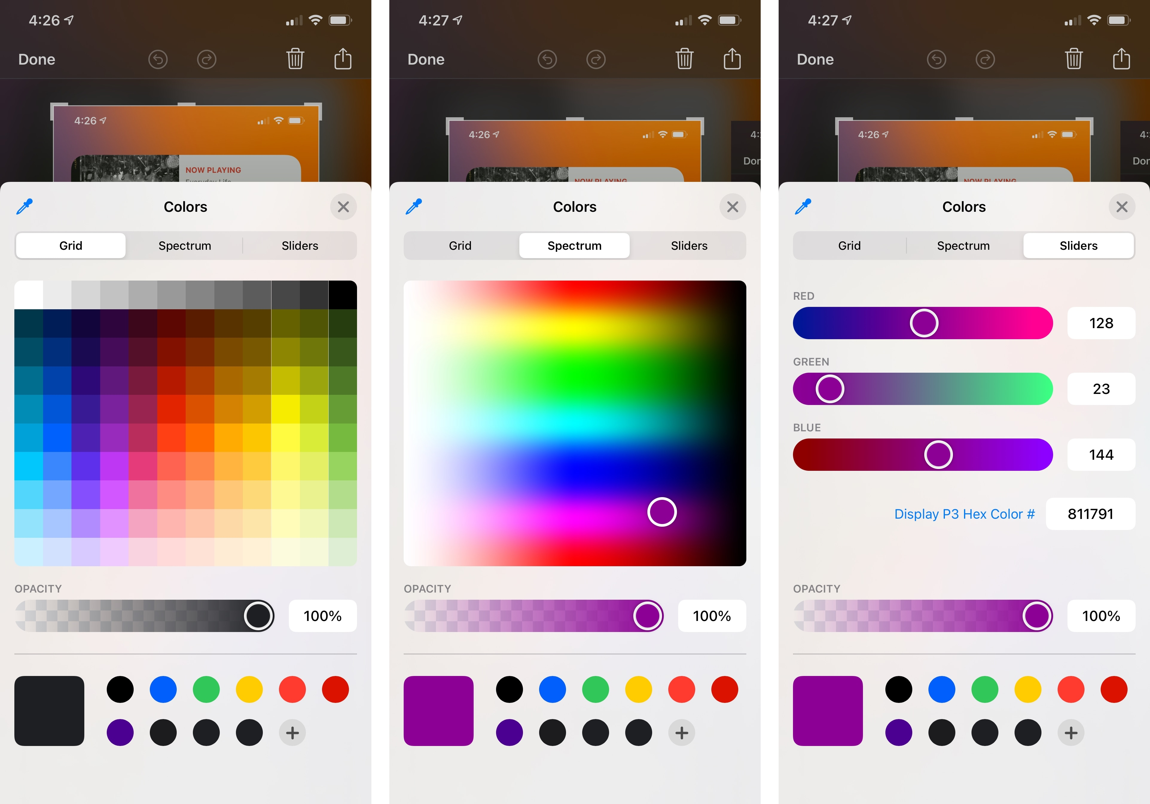The different modes of iOS 14's color picker.