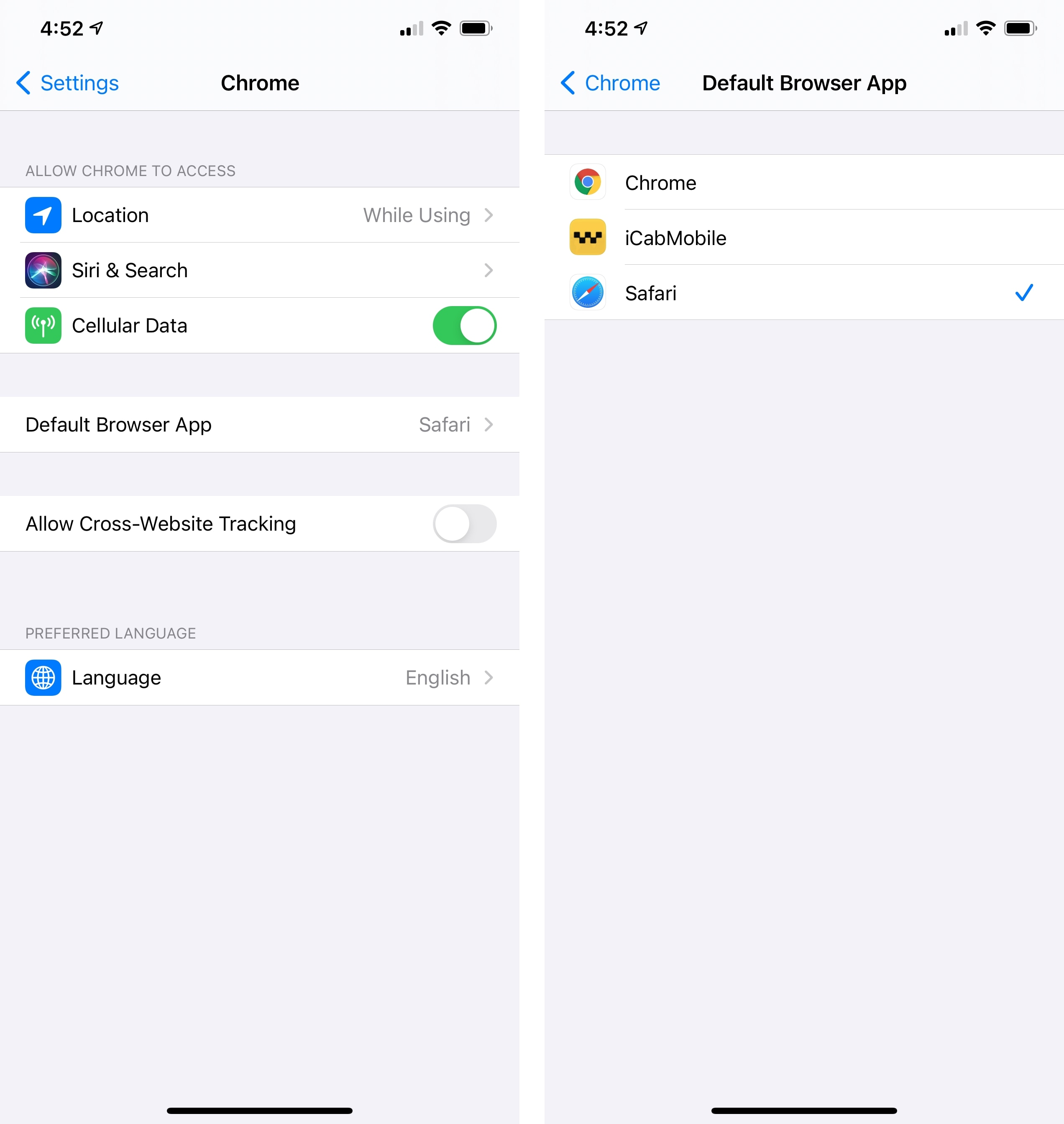 How to set a third-party default browser in iOS 14.