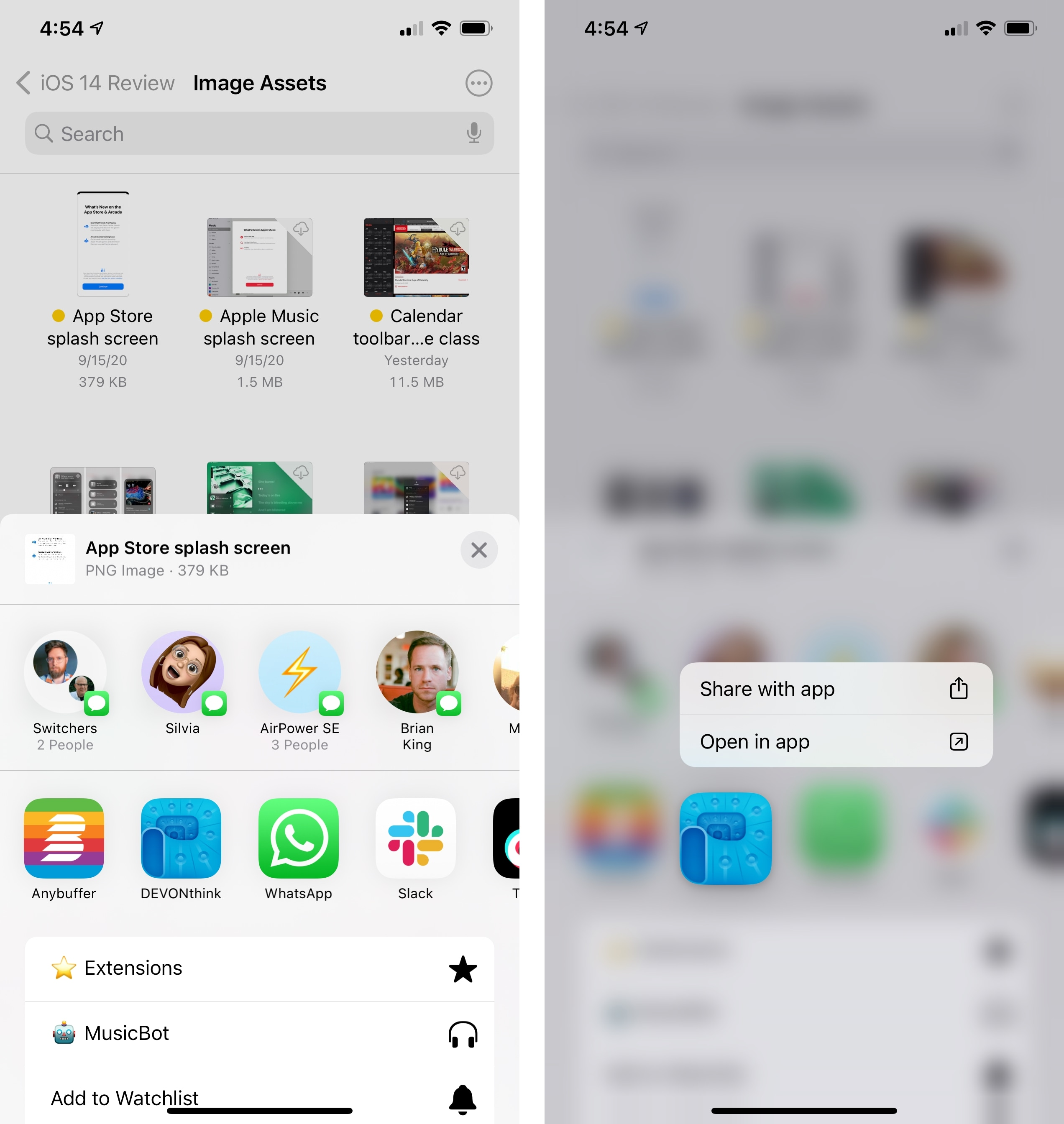 Long-press a compatible app in the share sheet to access the new open and share modes for files.