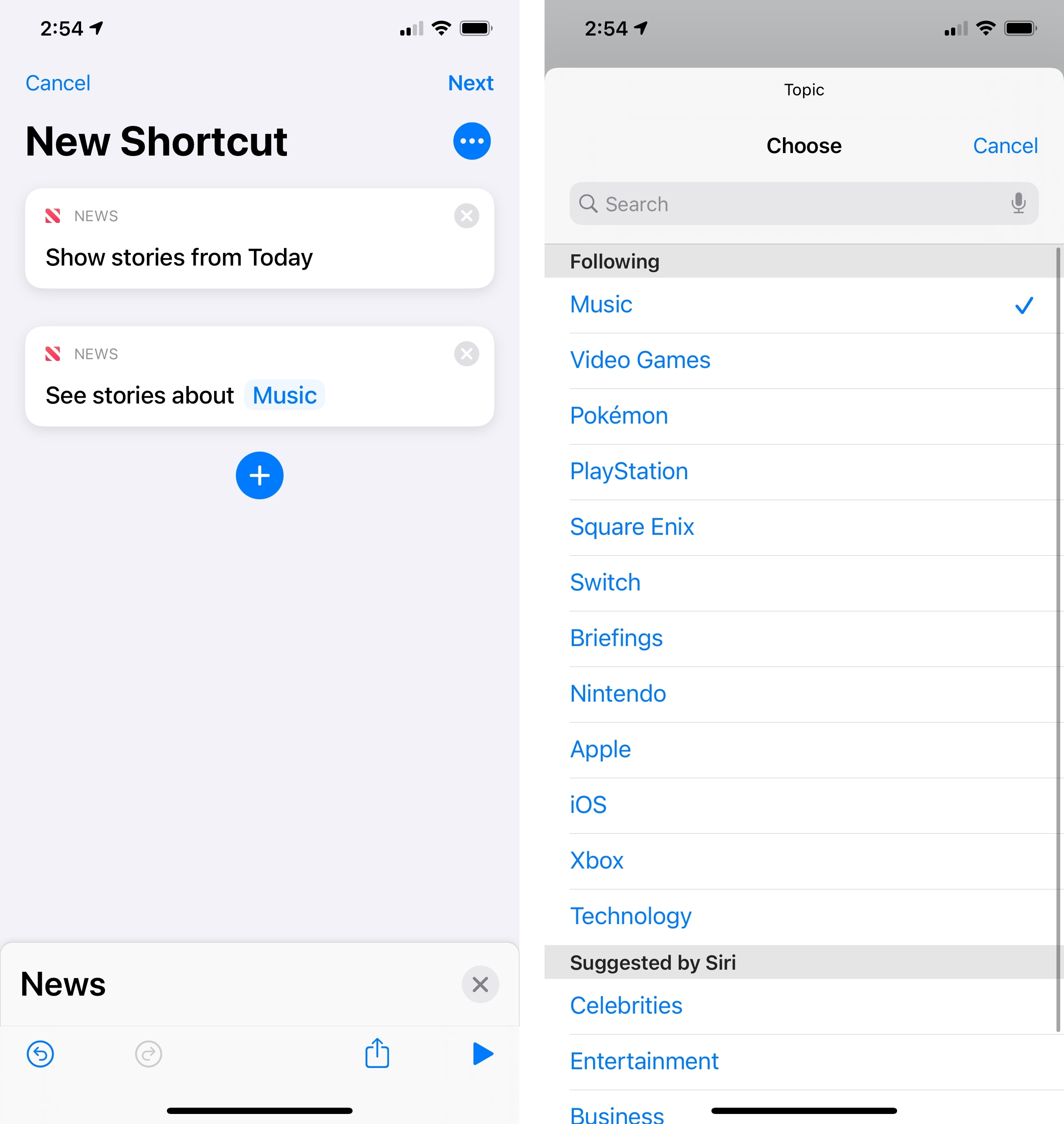 Apple News actions in iOS 14.