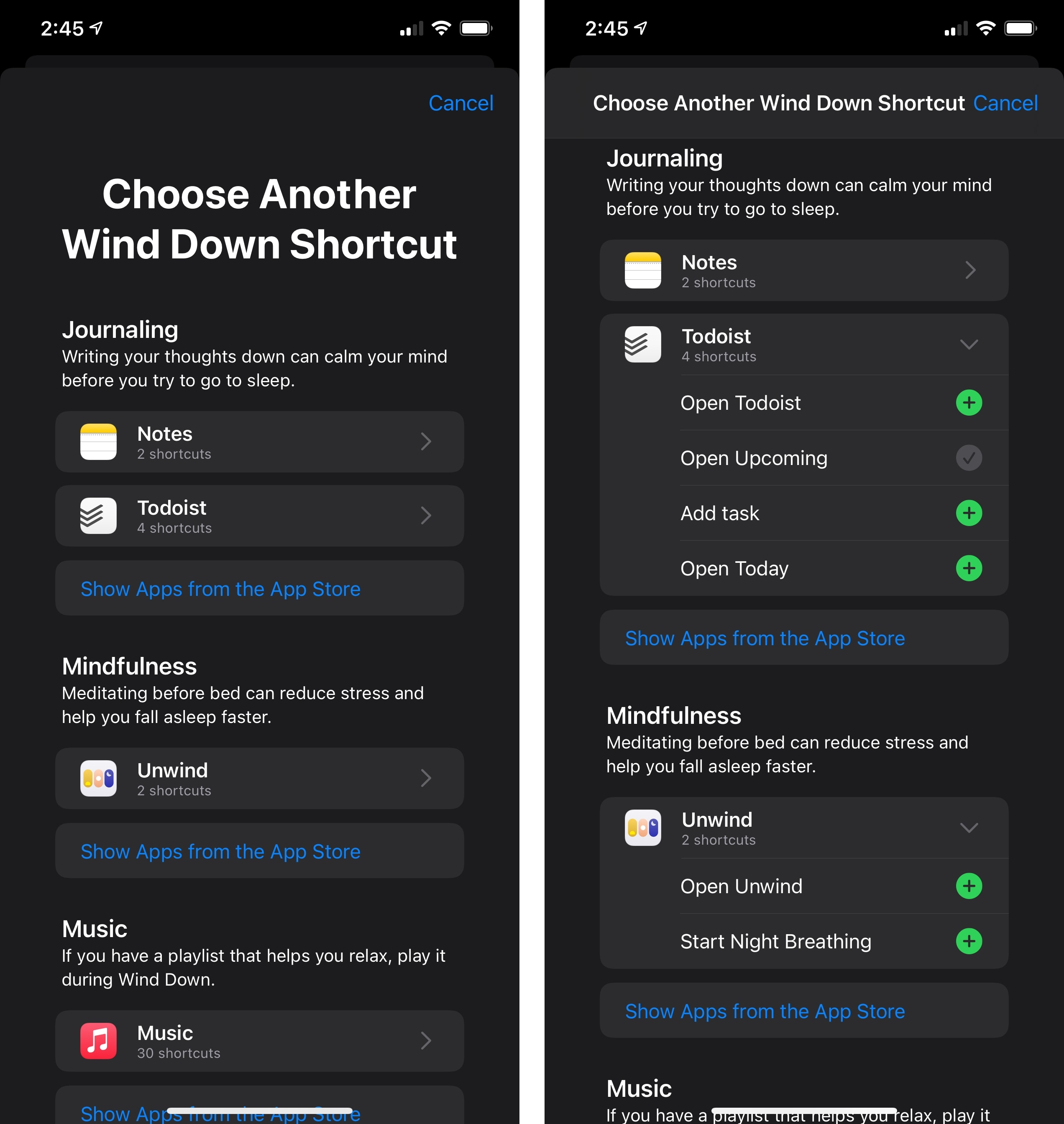 Shortcuts you add from Health's recommendations will also appear in the Shortcuts app as one-action shortcuts.