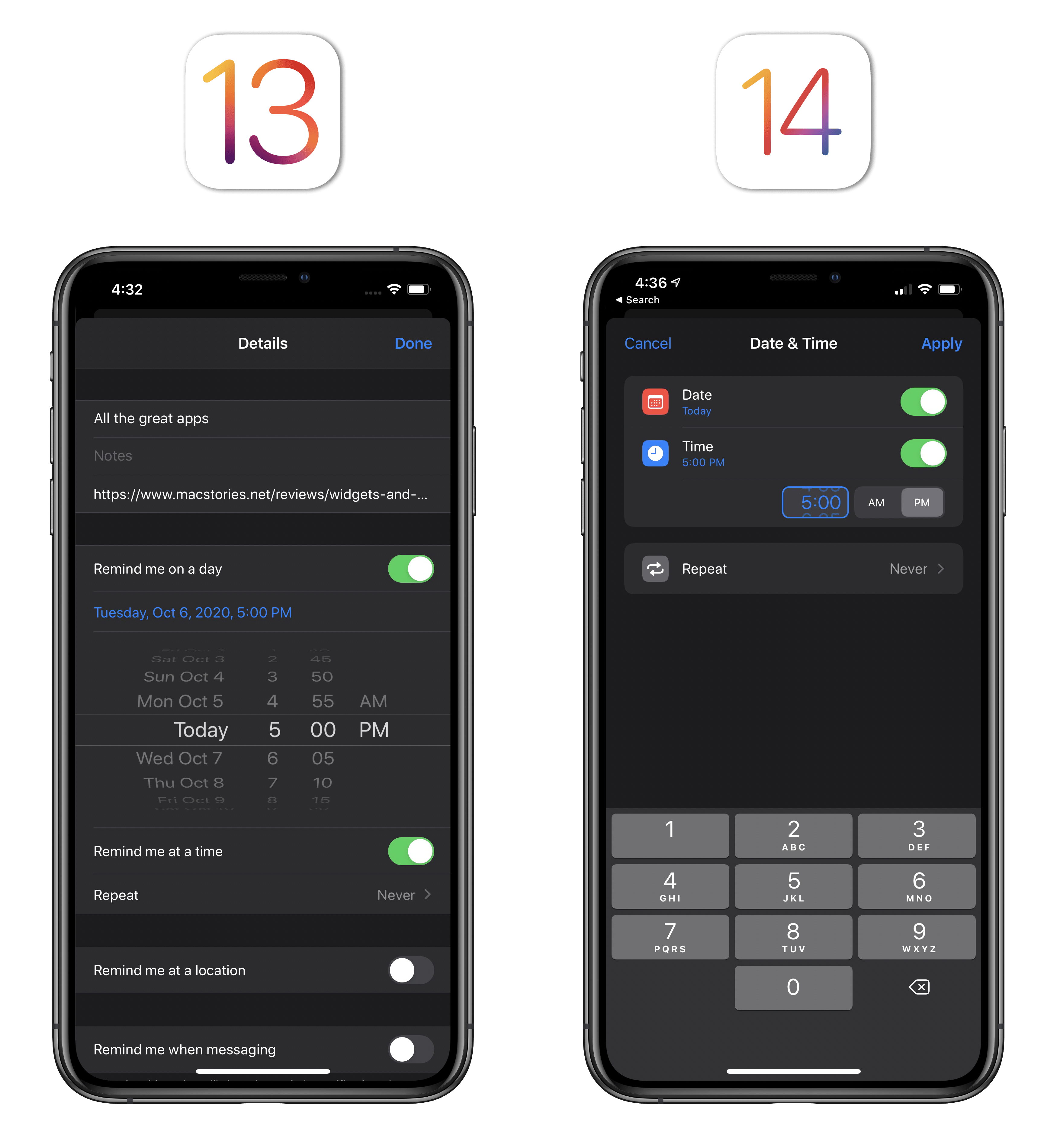 In iOS 14, you can enter times by typing them or scrolling the (much smaller) wheel.