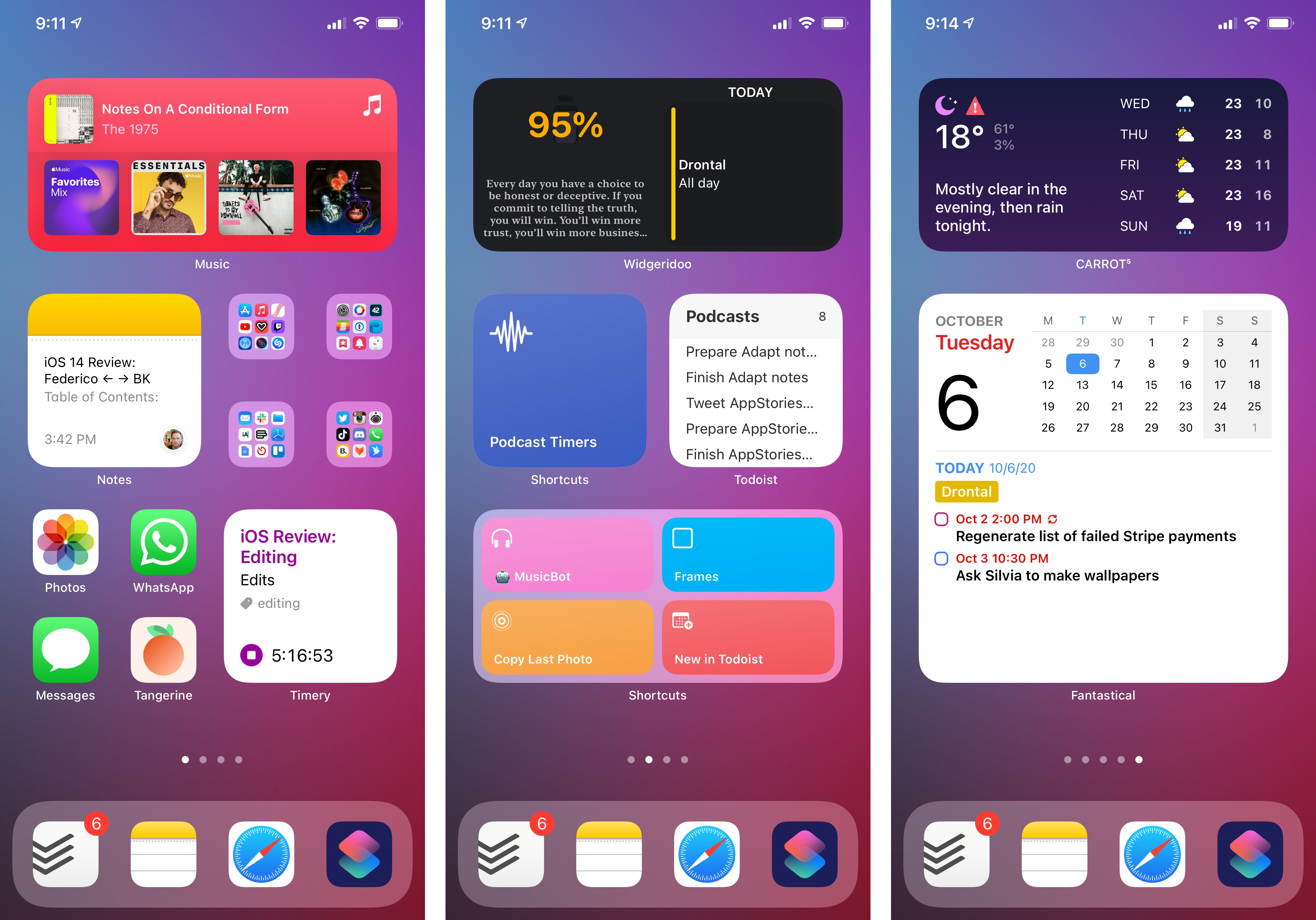 Widgets on the Home Screen in iOS 14.
