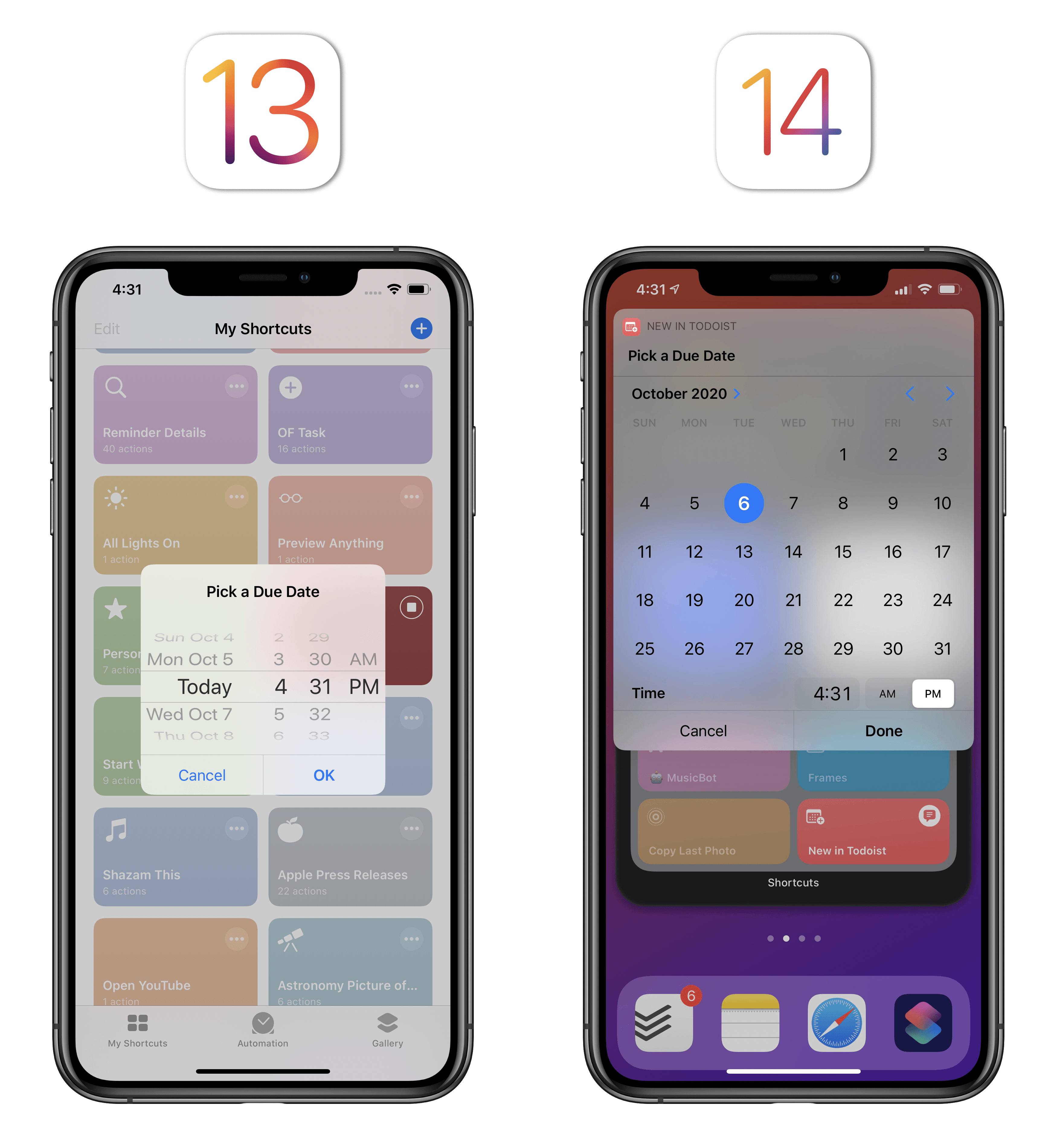 The date picker is now a compact monthly calendar.